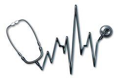 Símbolo dos cuidados médicos do estetoscópio EKG Foto de Stock Royalty Free