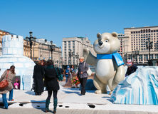 Símbolo dos Olympics de Sochi no quadrado de Manezh em Moscovo o 13 de abril de 2013 em Moscovo Fotos de Stock Royalty Free
