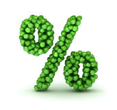 Símbolo dos por cento, alfabeto de maçãs verdes Imagens de Stock Royalty Free