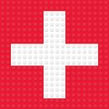 Símbolo dos primeiros socorros criado dos tijolos do brinquedo da construção Imagens de Stock Royalty Free