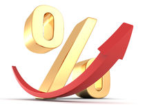 Símbolo dourado da porcentagem com seta vermelha acima Fotos de Stock Royalty Free