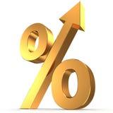 Símbolo dourado da porcentagem com uma seta acima Imagens de Stock Royalty Free