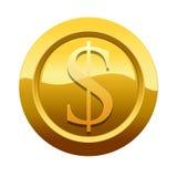 Símbolo dourado do ícone do dólar (trajeto preservado) imagem de stock