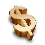 símbolo dourado do dólar 3D Imagens de Stock Royalty Free