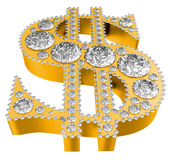 Símbolo dourado do dólar 3D incrusted com diamantes Imagem de Stock Royalty Free