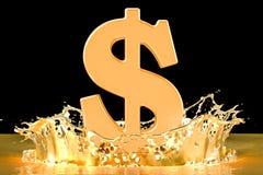Símbolo dourado do dólar com o ouro que espirra, rendição 3D ilustração stock