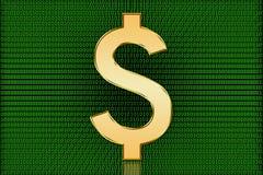 Símbolo dourado do dólar dos E.U. Digitas - moeda de Digitas Imagem de Stock Royalty Free