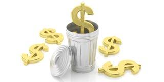 Símbolo dourado do dólar e balde do lixo do aço no fundo branco ilustração 3D Imagem de Stock Royalty Free