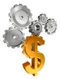 Símbolo dourado do dólar e rodas denteadas do metal Imagem de Stock