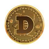 Símbolo dourado do dogecoin cripto da moeda Fotos de Stock
