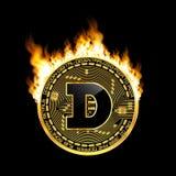 Símbolo dourado do dogecoin cripto da moeda no fogo Foto de Stock Royalty Free