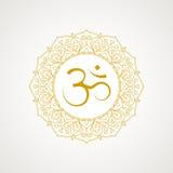 Símbolo dourado do OM no vetor Imagens de Stock Royalty Free