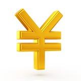 Símbolo dourado dos ienes Imagens de Stock Royalty Free