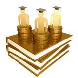 Símbolo dourado dos livros da bolsa de estudos e da graduação Fotos de Stock
