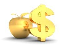 Símbolo dourado grande do dólar com maçã. sucesso comercial Fotos de Stock Royalty Free