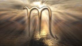 Símbolo dourado místico da Escorpião do horóscopo do zodíaco rendição 3d Imagens de Stock Royalty Free