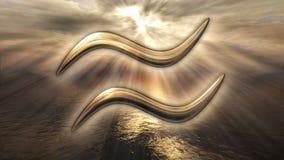 Símbolo dourado místico do Aquário do horóscopo do zodíaco rendição 3d Imagens de Stock Royalty Free