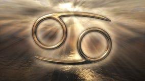 Símbolo dourado místico do câncer do horóscopo do zodíaco rendição 3d Imagens de Stock