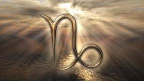 Símbolo dourado místico do Capricórnio do horóscopo do zodíaco rendição 3d Imagem de Stock