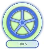 Símbolo e ícone dos pneus Imagens de Stock Royalty Free