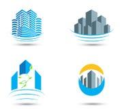Símbolo e ícones dos bens imobiliários Fotografia de Stock