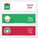 Símbolo e cumprimentos do Natal Caixa de presente, carneiro, Papai Noel Foto de Stock Royalty Free