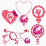Símbolo e icono internacionales del día de la mujer Imagen de archivo libre de regalías