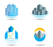 Símbolo e iconos de las propiedades inmobiliarias Fotografía de archivo