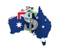 Símbolo e mapa do dólar australiano Imagem de Stock Royalty Free