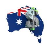 Símbolo e mapa do dólar australiano Fotos de Stock