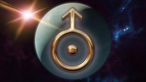 Símbolo e planeta do horóscopo do zodíaco do Urano rendição 3d Fotografia de Stock