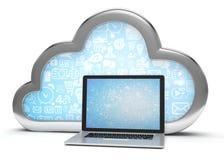 símbolo e portátil da nuvem 3d Imagem de Stock Royalty Free