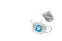 Símbolo e saquinho de chá do potenciômetro do chá Fotos de Stock