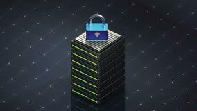 Símbolo e segurança do base de dados Servidor de base de dados ilustração royalty free