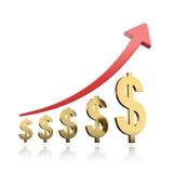 Símbolo e vermelho dourados do dólar acima da seta Imagem de Stock Royalty Free