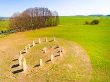 Símbolo esotérico del geomancy en campo de trigo verde Foto de archivo libre de regalías