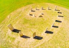 Símbolo esotérico del geomancy en campo de trigo verde Imágenes de archivo libres de regalías
