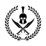 Símbolo espartano del casco de un guerrero Fotos de archivo libres de regalías