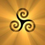 Símbolo espiral Triskelion com alargamento claro Foto de Stock Royalty Free