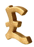 Símbolo esterlina de oro Fotografía de archivo libre de regalías