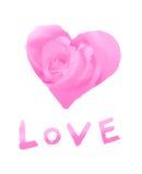 Símbolo estilizado del amor con la palabra '' amor '' Imágenes de archivo libres de regalías