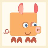 Símbolo estilizado del icono del cerdo Fotografía de archivo