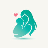 Símbolo estilizado do vetor da mamã e do bebê Fotos de Stock