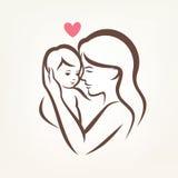 Símbolo estilizado do vetor da mamã e do bebê Imagem de Stock Royalty Free