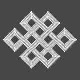 Símbolo eterno de plata del encanto del nudo Fotografía de archivo libre de regalías