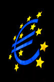 Símbolo euro aislado en negro Foto de archivo