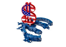 símbolo euro concreto 3D destruido por la muestra de dólar del color Fotografía de archivo