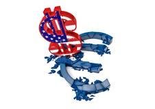 símbolo euro concreto 3D destruido por la muestra de dólar del color Fotos de archivo