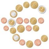 Símbolo euro de monedas Imágenes de archivo libres de regalías