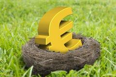 Símbolo euro de oro en jerarquía Imagen de archivo libre de regalías